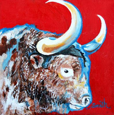 Red, White and Blue Bull